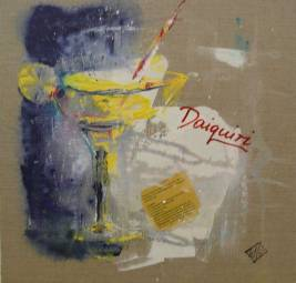 Daiquiri. Acryl/Collage auf Leinwand, 40x40.
